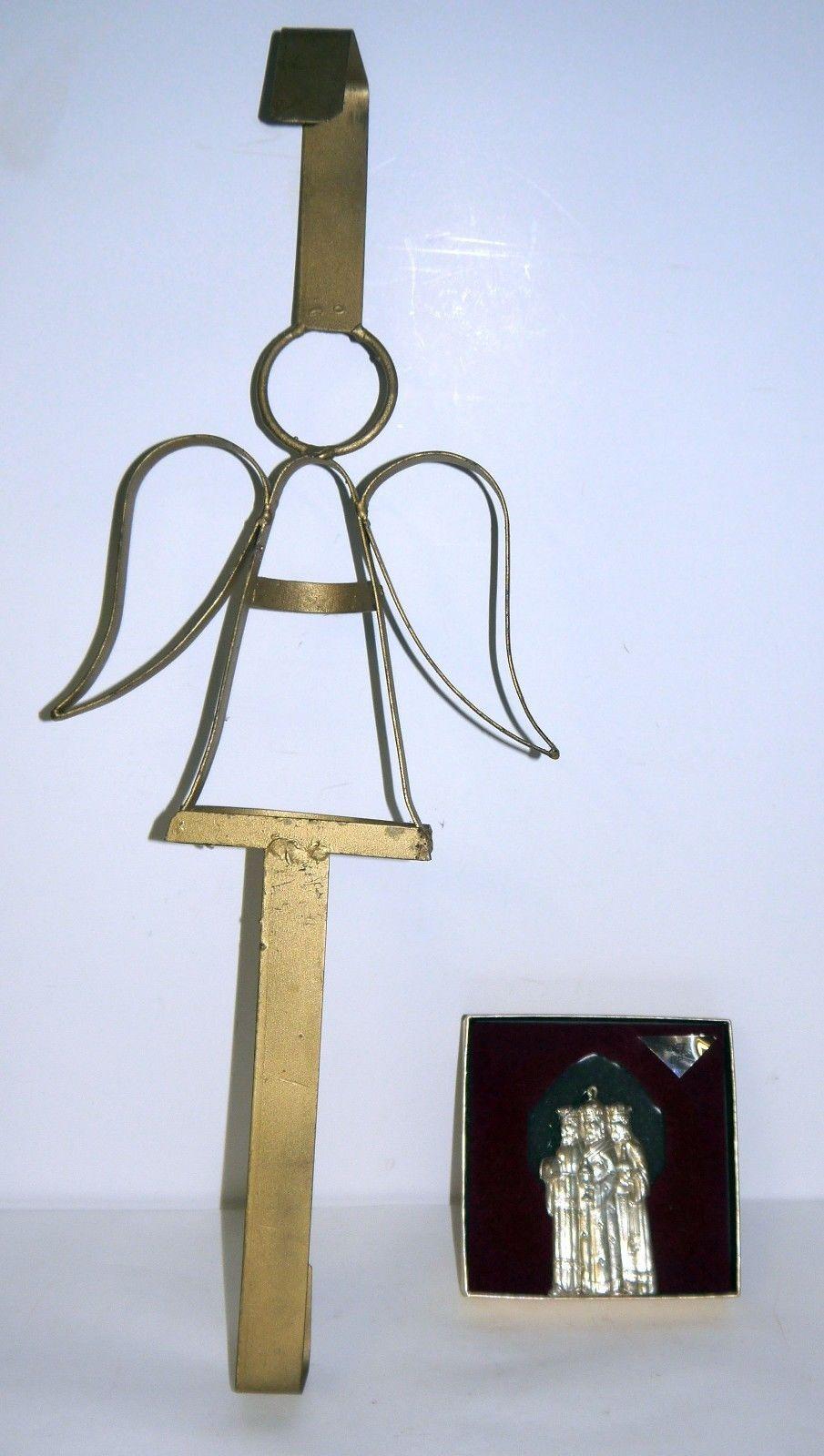 Vintage Gold Tone Angel Over Door Wreath Hanger And Metal
