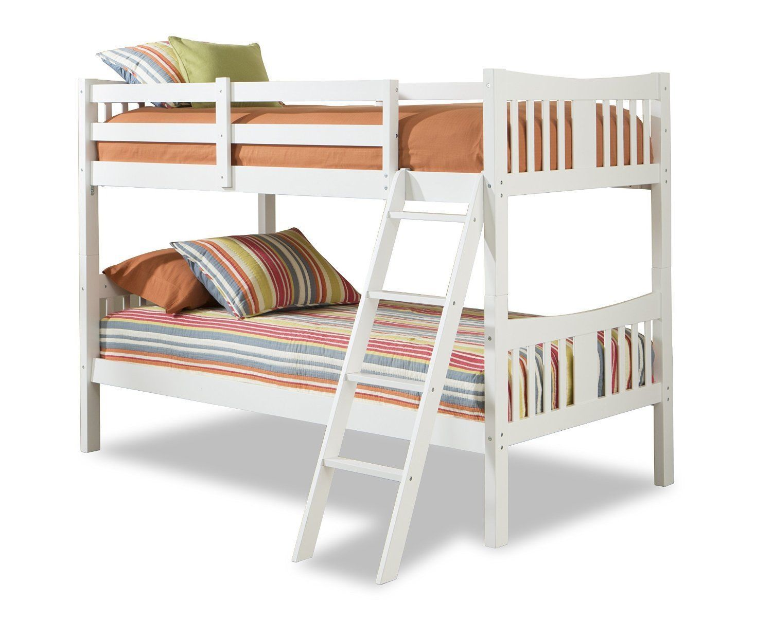 White Twin Bunk Bed Bedroom Furniture Children Kids Wood Space Saving