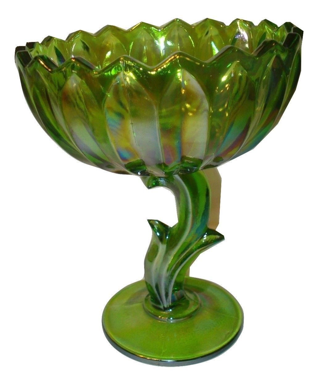 Kitchen Aid Bowls Large Indiana Carnival Green Glass Lotus Flower Footed ...