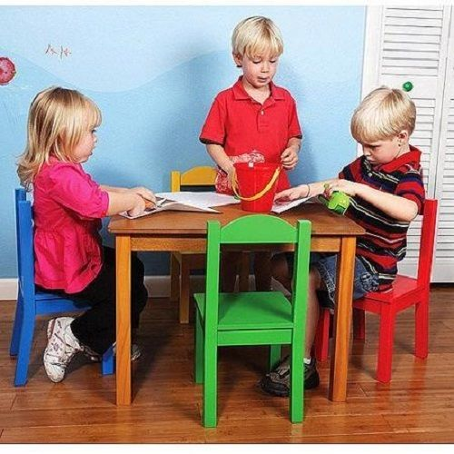 kids 39 table and 4 chair set pastel wood toddlers play furniture fun