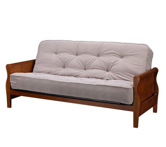 Wood Arm Futon With Coil Mattress Chair Sofa Bed Couch