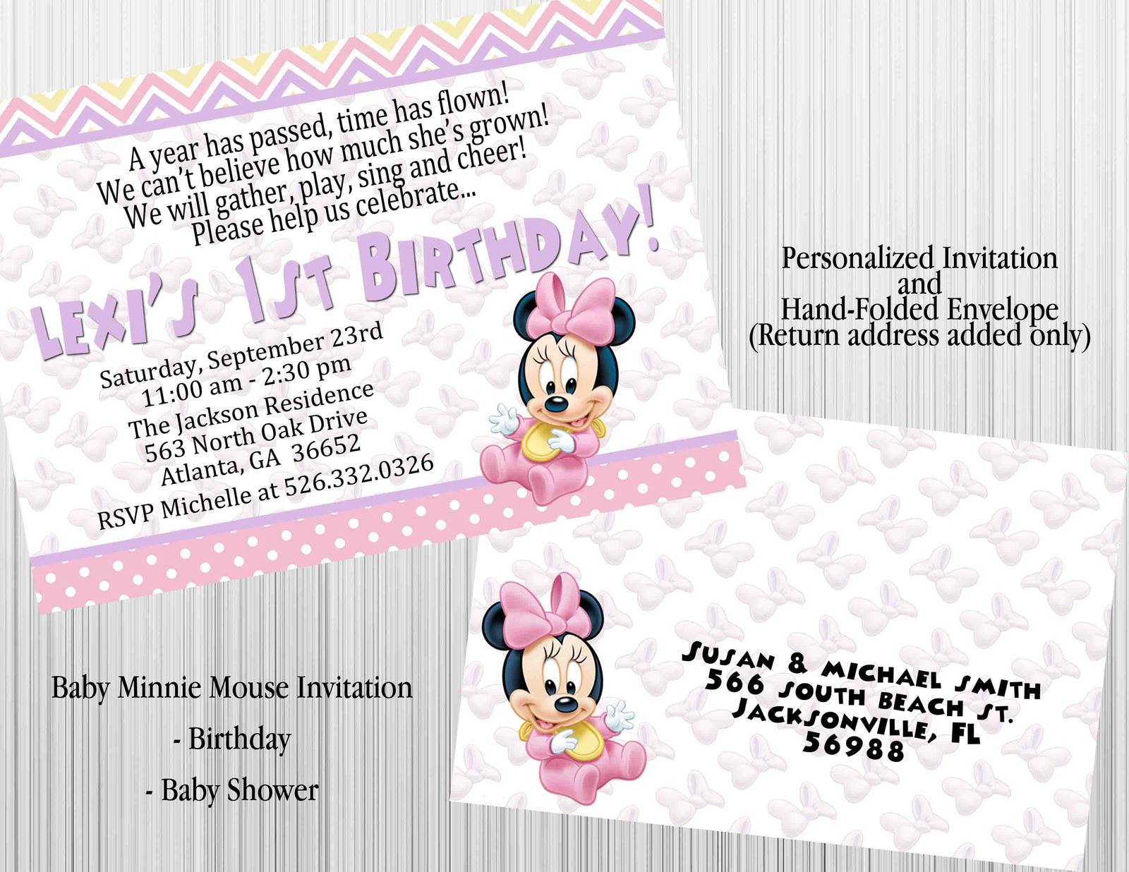 minnie mouse invitation set matching envelopes birthday baby shower