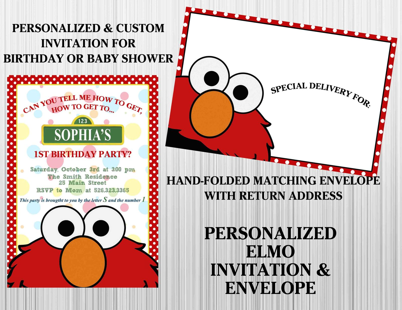 Elmo invitation set matching envelopes birthday baby for Elmo template for invitations