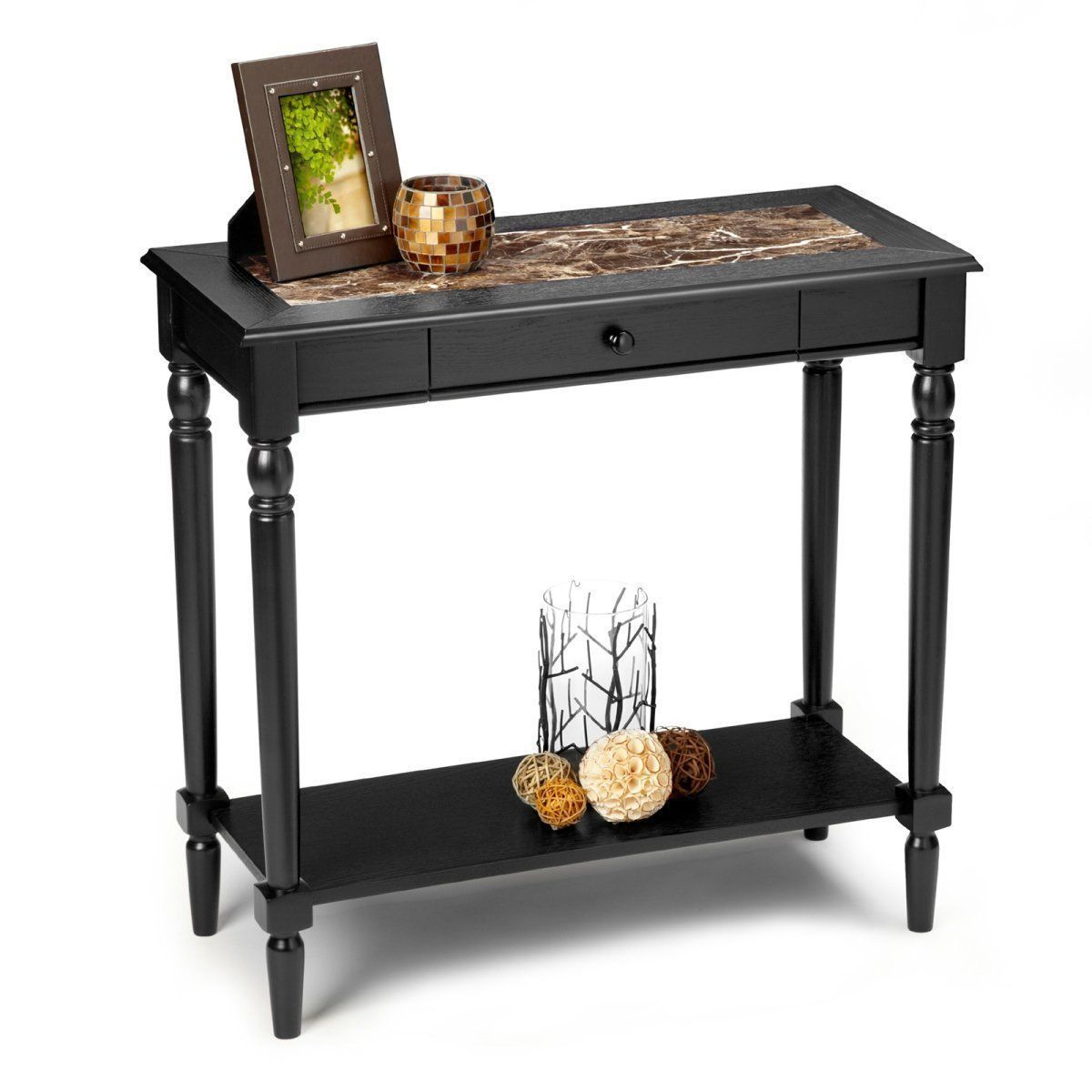 Superb img of  Black Faux Marble Wood Console Table Drawer Shelf Storage Tables with #9EB219 color and 1200x1200 pixels