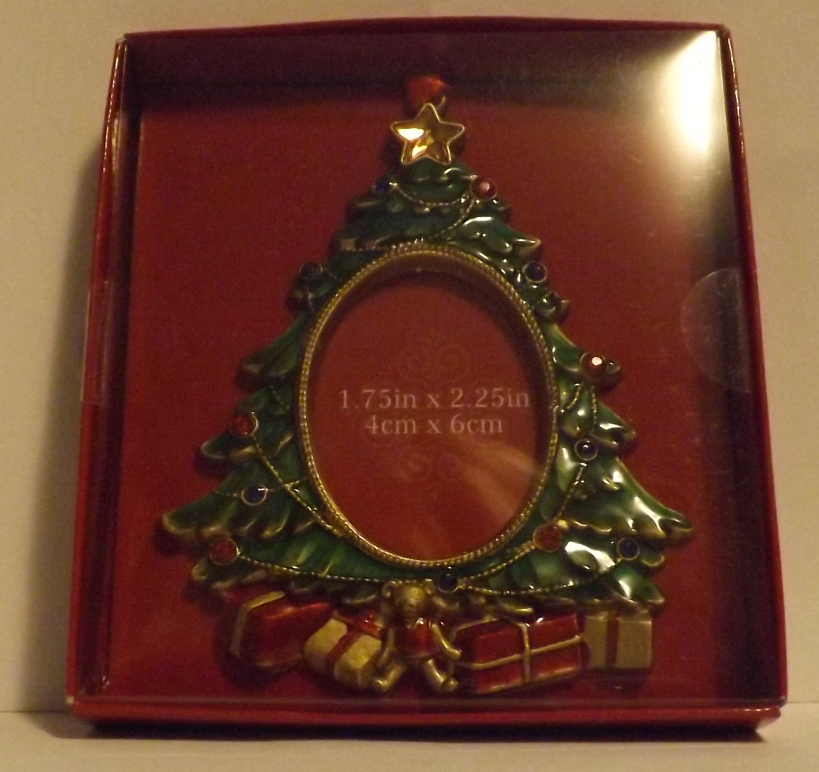 Pewter photo ornament christmas tree trees