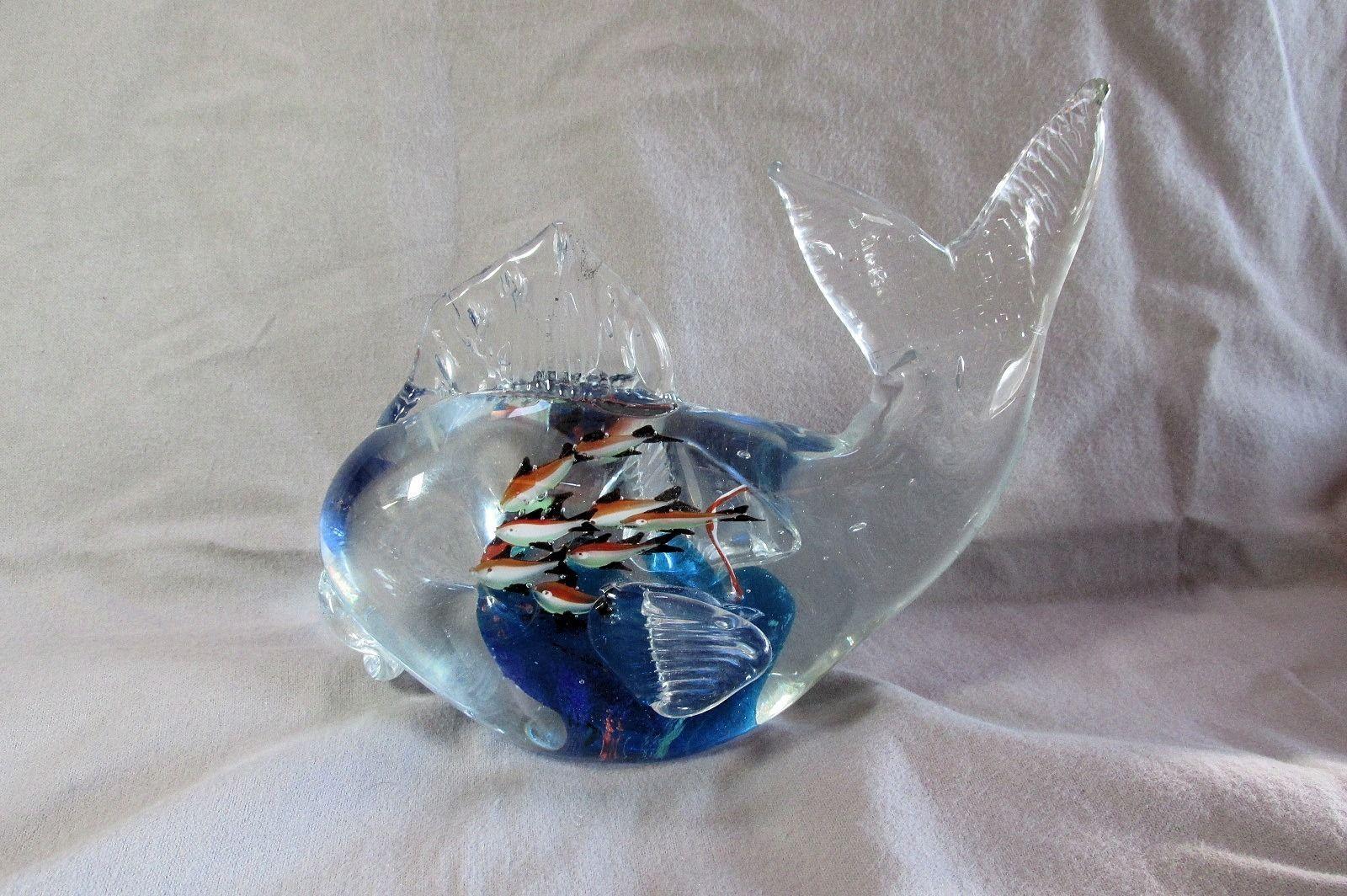 Murano 5 lb glass fish aquarium sculpture 10 fish inside for Murano glass fish