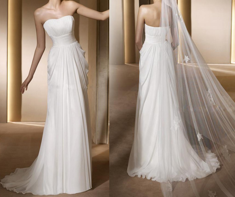Simple ivory long strapless empire waist chiffon wedding for Simple wedding dresses for small wedding