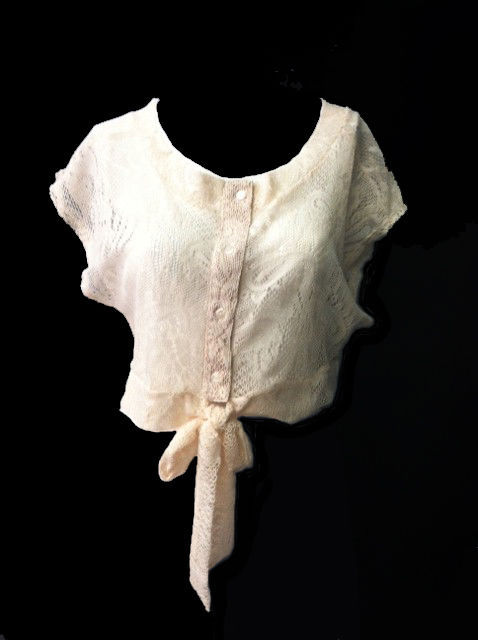 Cute Sexy Ivory or Black Crochet Cotton Lace Jr Crop Top Wrap w/Buttons/Tie USA