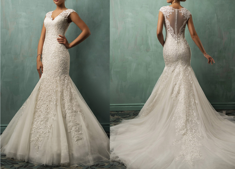 Sexy Mermaid Wedding Dresses V-neck Long Train Applique
