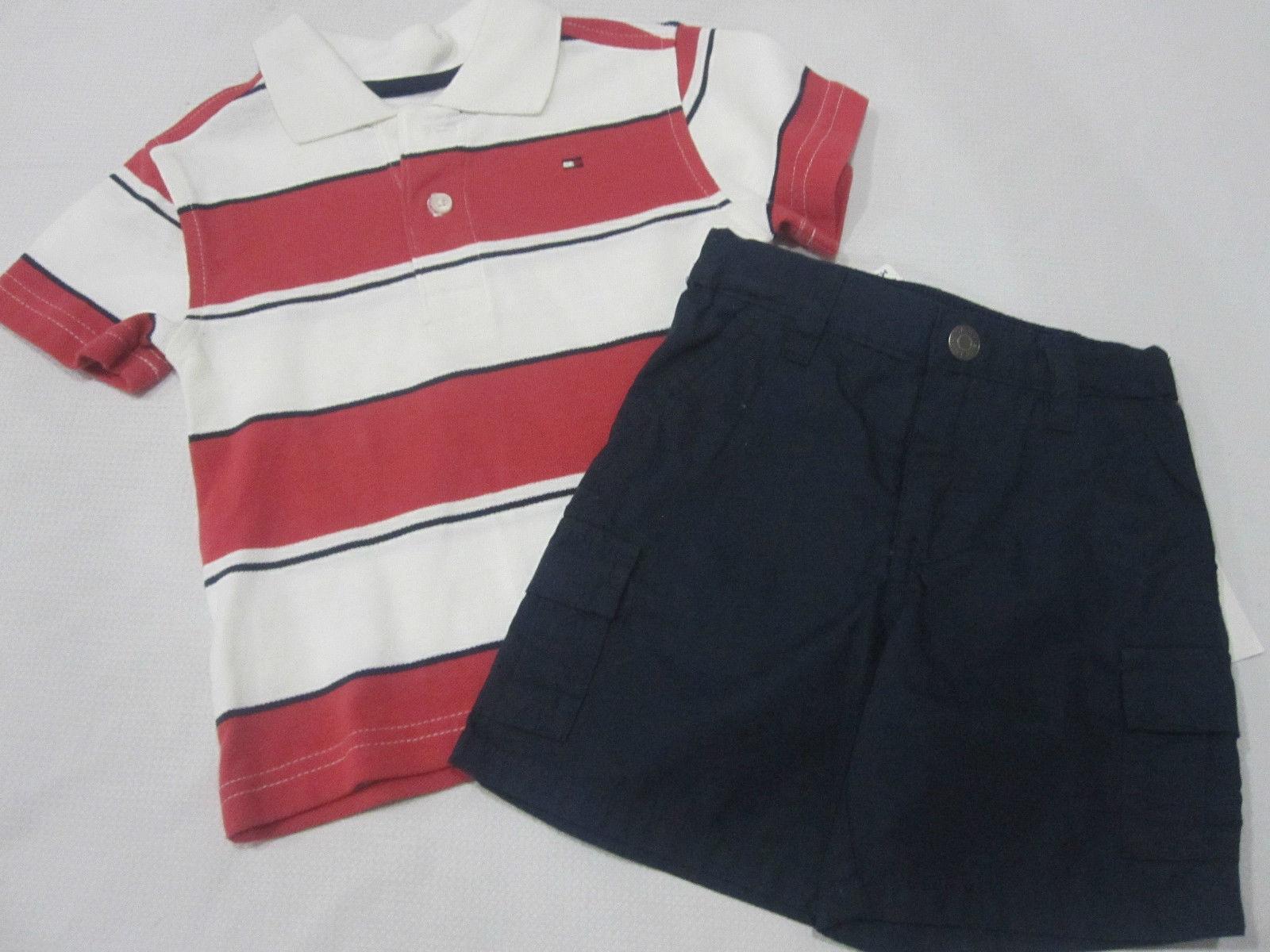 Nwt Boys Tommy Hilfiger Blue Red 2pc Polo Shirt Shorts Set