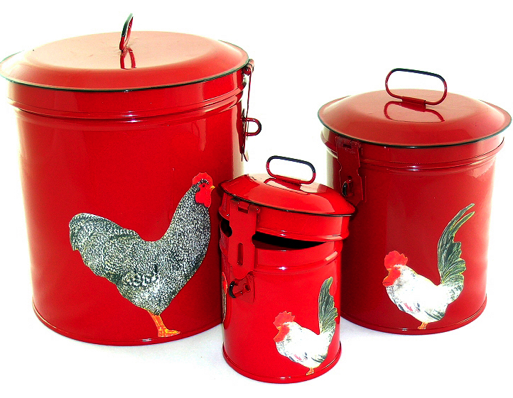 Red Canister Set, Rooster Kitchen Storage Canisters, Decorative Containers E3