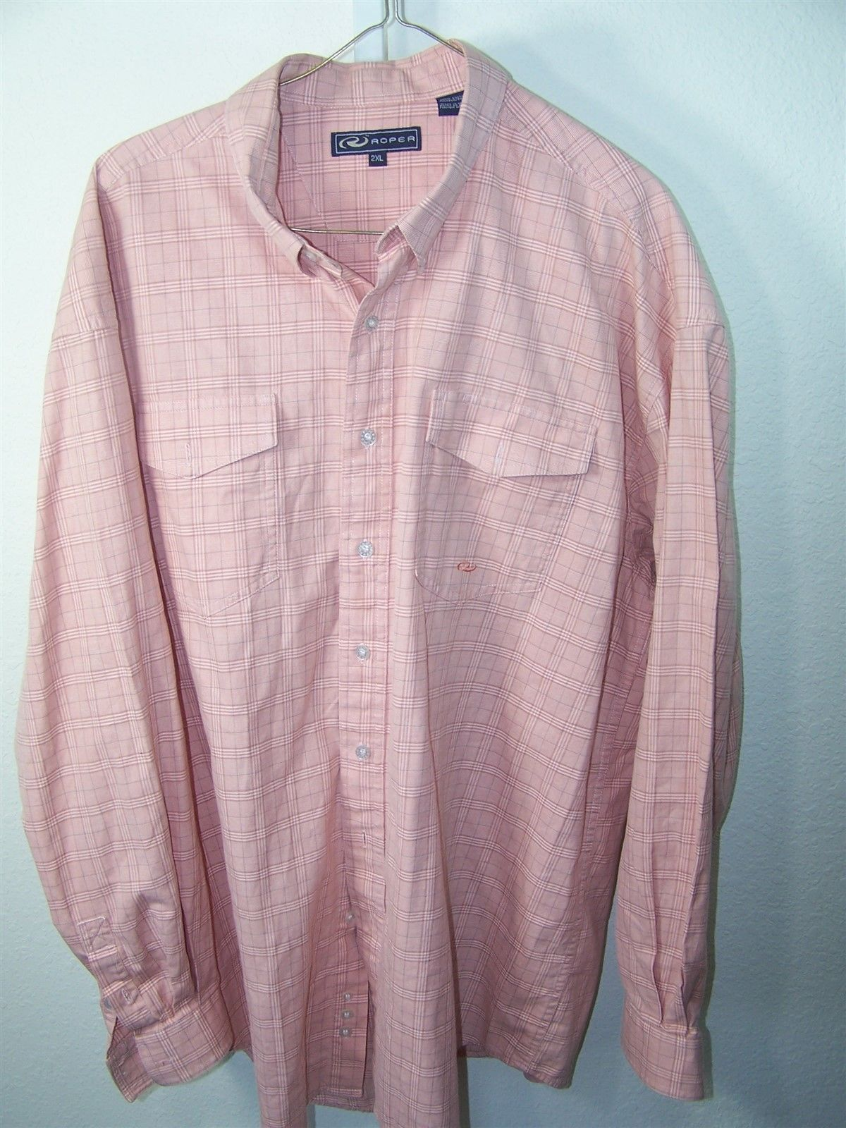 Roper mens 2xl cotton shirt three button cuffs button down for Three button collar shirts