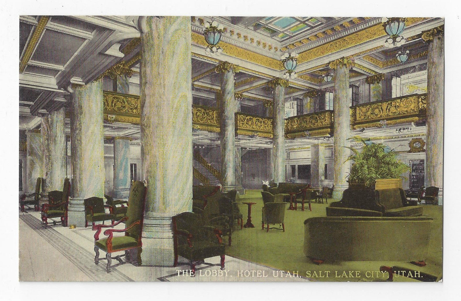 Salt Lake City Hotel Utah Interior The Lobby Vintage