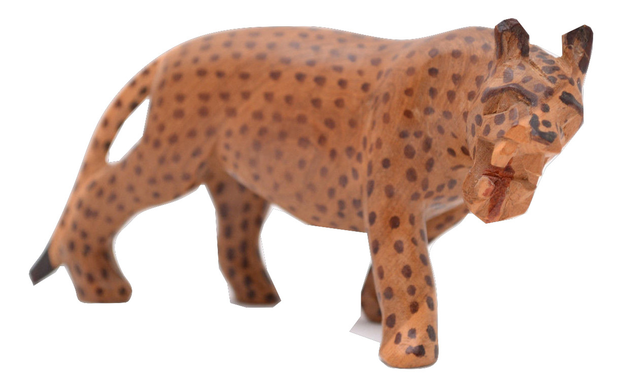 Handmade wood carving carved wooden spotted leopard animal