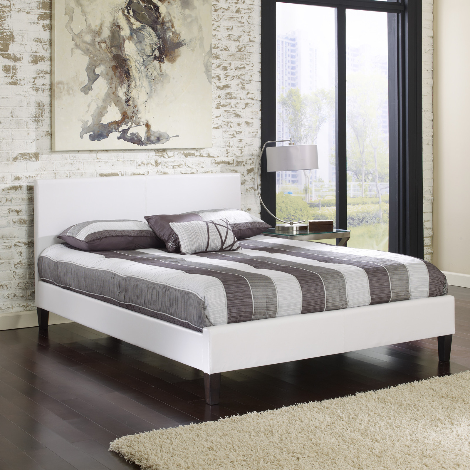 Padded Leather Solid Wood Furniture White Bedroom Beds Bed Frames