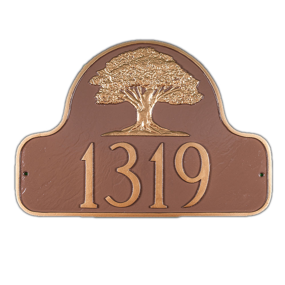Montague metal arch style address plaque oak tree custom for Outdoor decorative signs