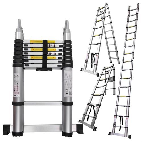 Telescoping Aluminum Extension Ladder : Ft aluminum telescopic ladder telescoping a type