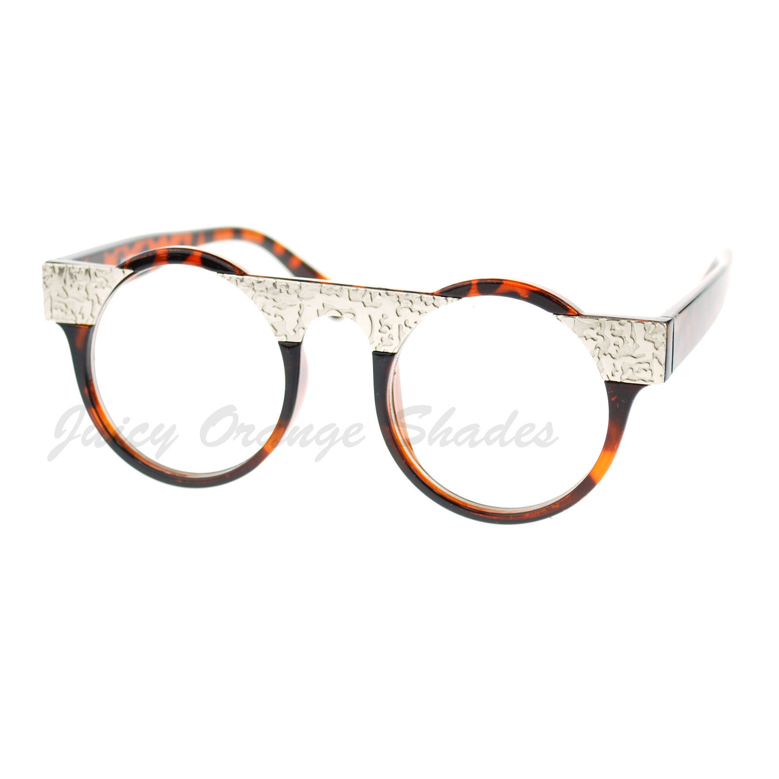 Unique Clear Lens Glasses Round Circle Silver Plate Top ...
