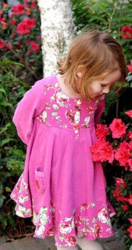 Image 1 of Posh Baby Nay Candy Rose Toddler Girl Hot Pink Cord Bridgett Dress, 3T - 3T