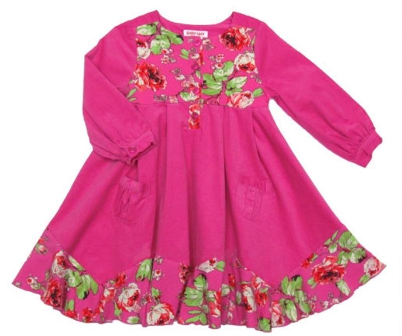 Image 4 of Posh Baby Nay Candy Rose Toddler Girl Hot Pink Cord Bridgett Dress, 3T - 3T