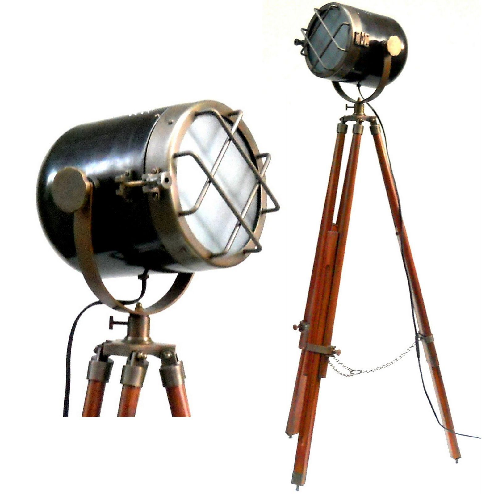 Nautical Floor Lamp Spot Searchlight Tripod Stand Living