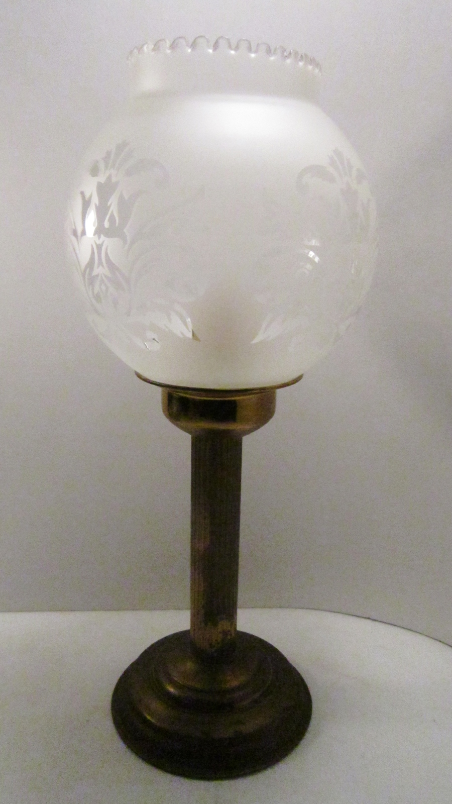 Brass Spring Loaded Lamp Candle Frosted Glass Globe Candle