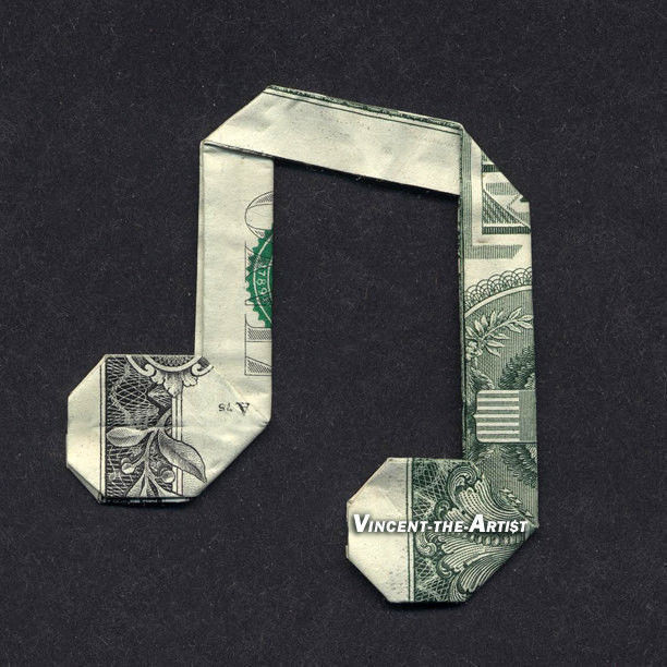 Money Origami Music Note Dollar Bill Art Made With