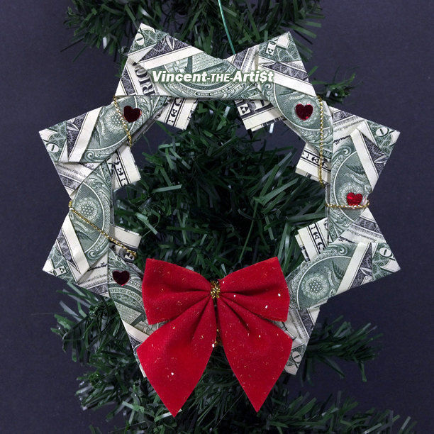 DOLLAR ORIGAMI WREATH - Beautiful Christmas Tree Ornament ... - photo#17