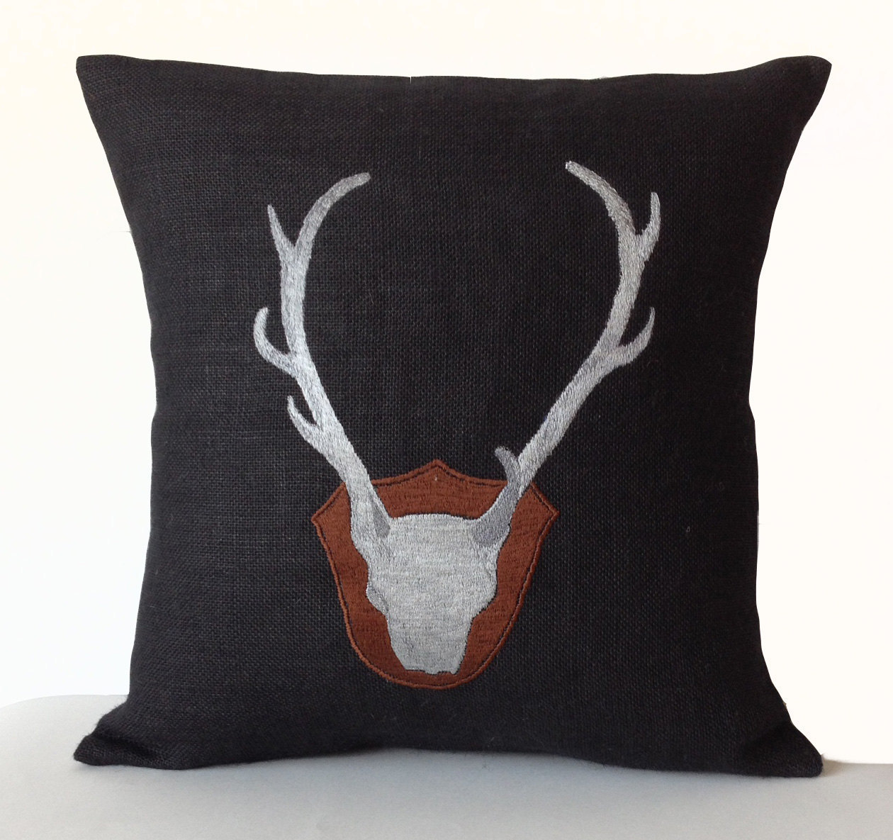Burlap Throw Pillow Cover -Deer Antler Silhoutte Pillows -Burlap Cushion 20x20- - Bed Pillows