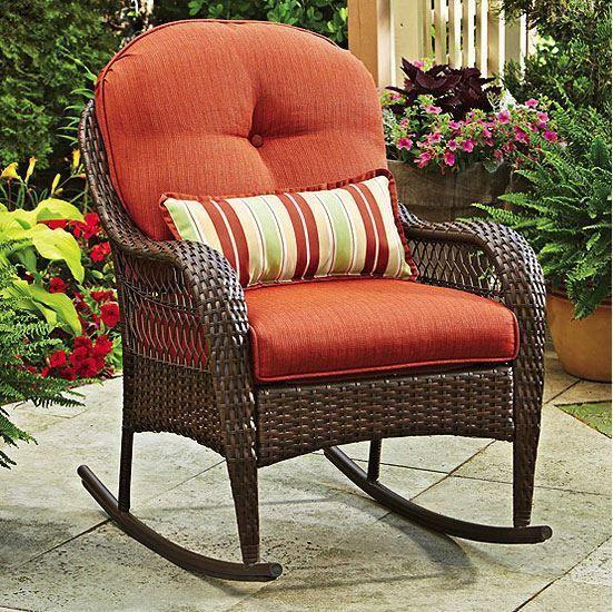 Wicker rocking chair outdoor porch deck furniture nursery patio rest all weather patio