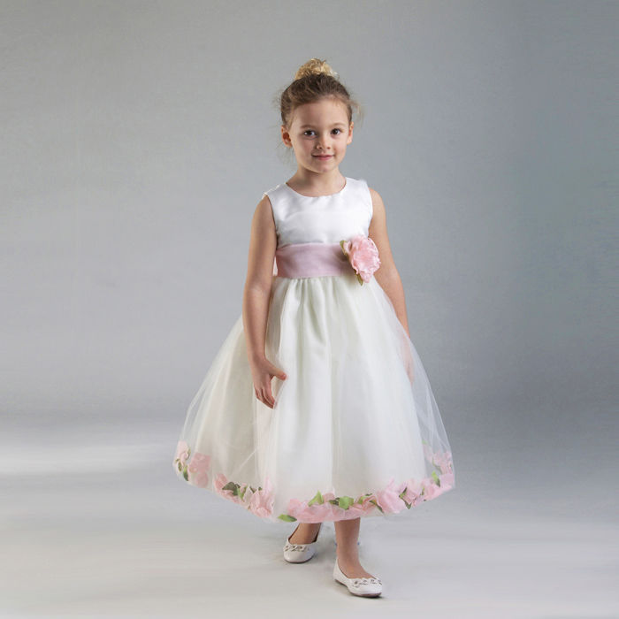 Image 1 of Stunning White Christening Flower Girl Dress w/Pink Petals Crayon Kids USA - Whi