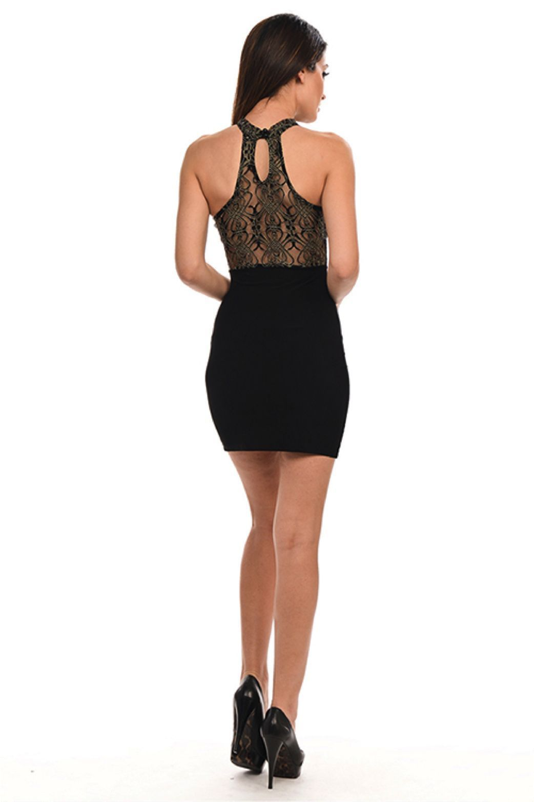 Image 1 of Sexy Black Halter Gold Mesh Lace Neck/Racer Track Back Party Mini DressLydia - L