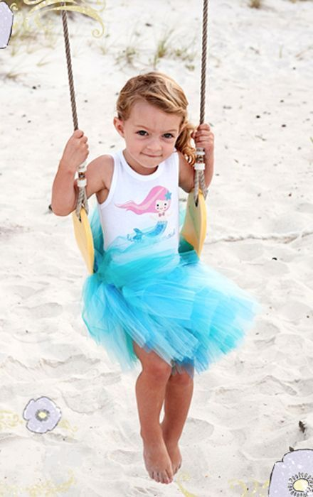 Image 1 of Beautiful Pansy Pie Little Mermaid Tank Top Poofy Ocean Blue Tutu Boutique Set -