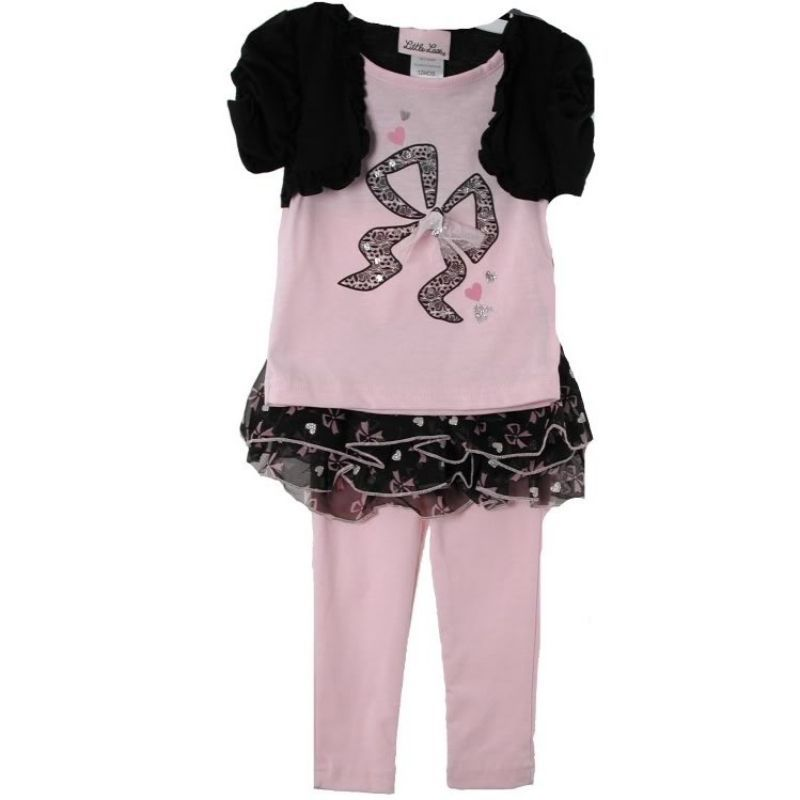 Posh Pink Black Little Lass Girls Top Tutu Leggings 3-Pc Set, Bow Hearts Motif -