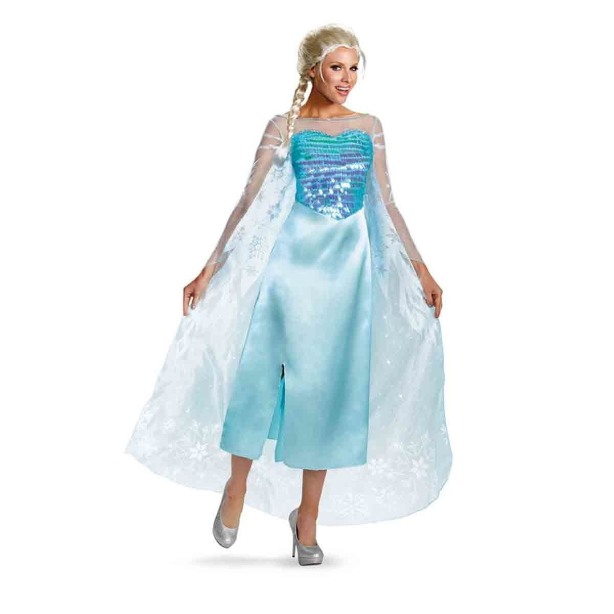 Disney Frozen Elsa Snow Queen Deluxe Blue Glitter Dress Adult Disguise 82832