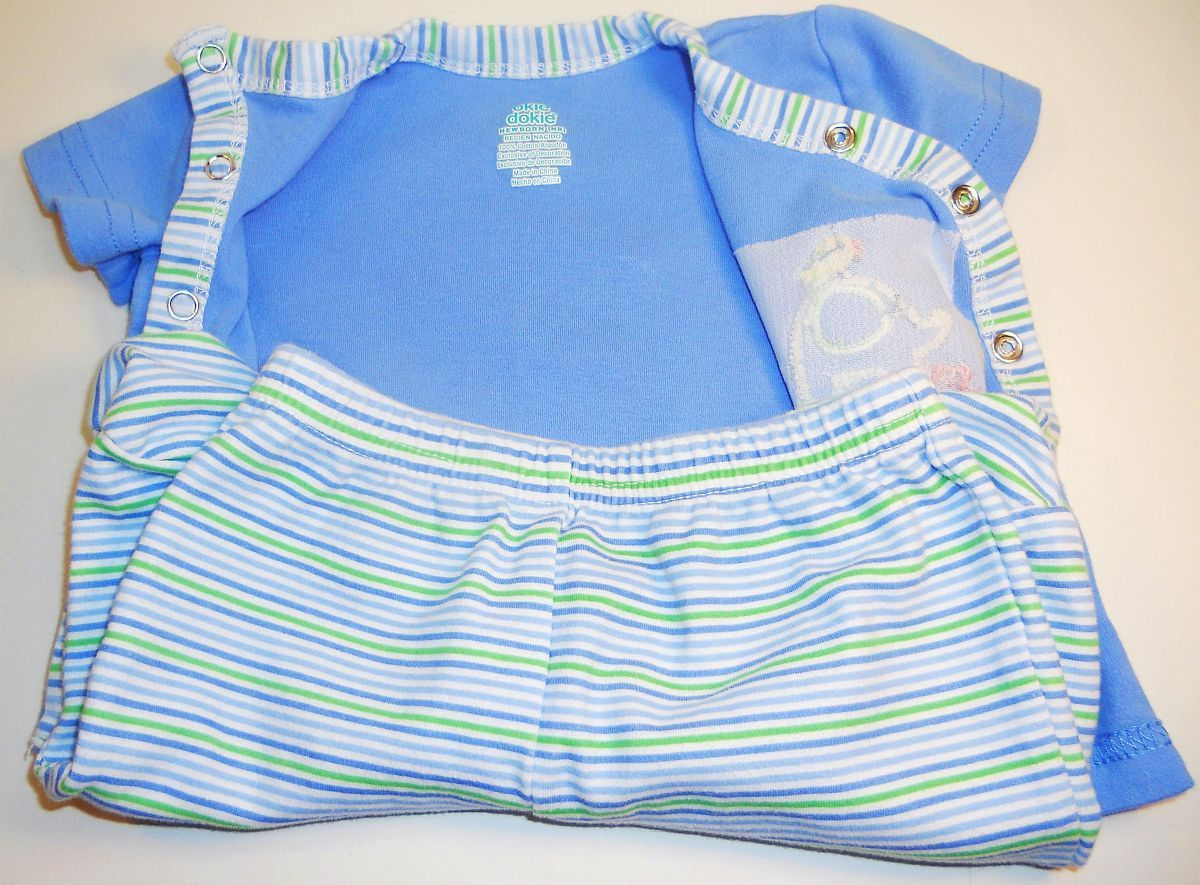 Image 1 of Okie Dokie Boys shirt footie pants set blue stripe elephant New born