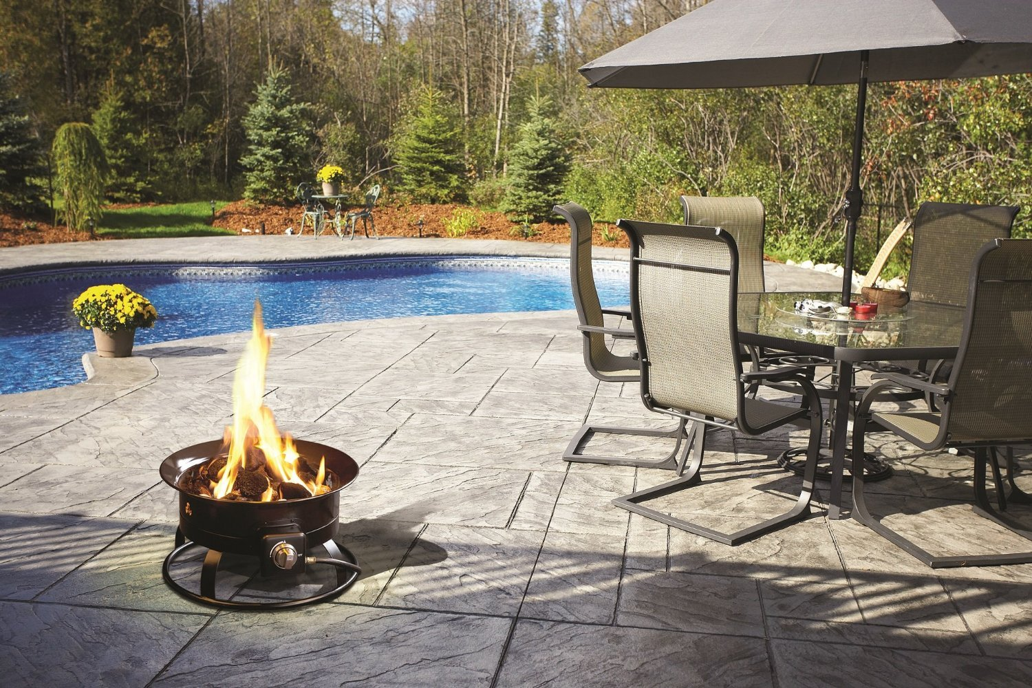 Portable Patio Fire Pit :  Portable Propane Fire Pit Wood CSA Approval Outdoor Patio New  Fire