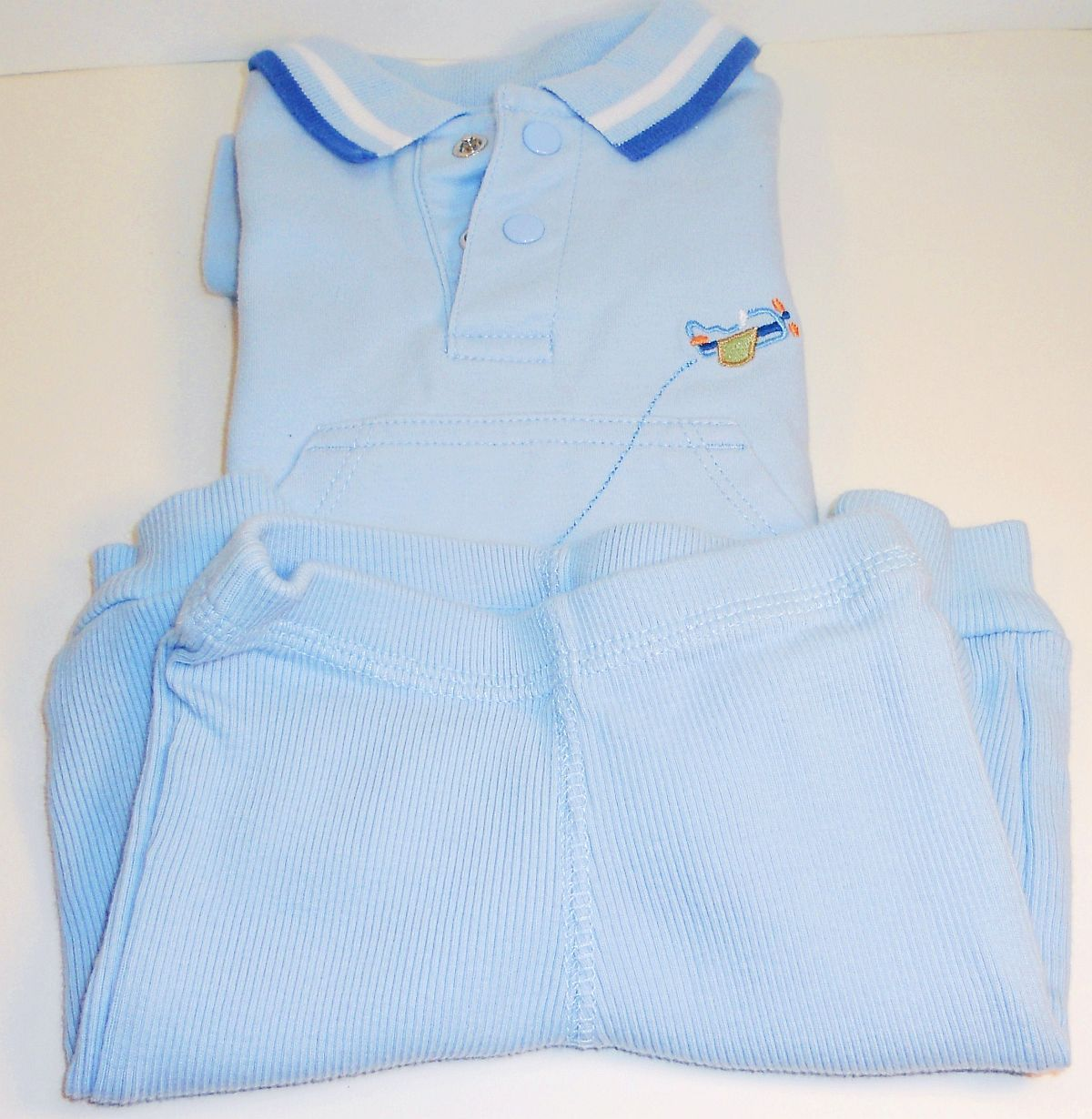 Image 1 of Carter's Child of Mine blue boys shirt pant sweatsuit New Born