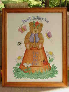 Finished Cross Stitch~Honey Pot ~Bear on Pot 	Finished Cross
