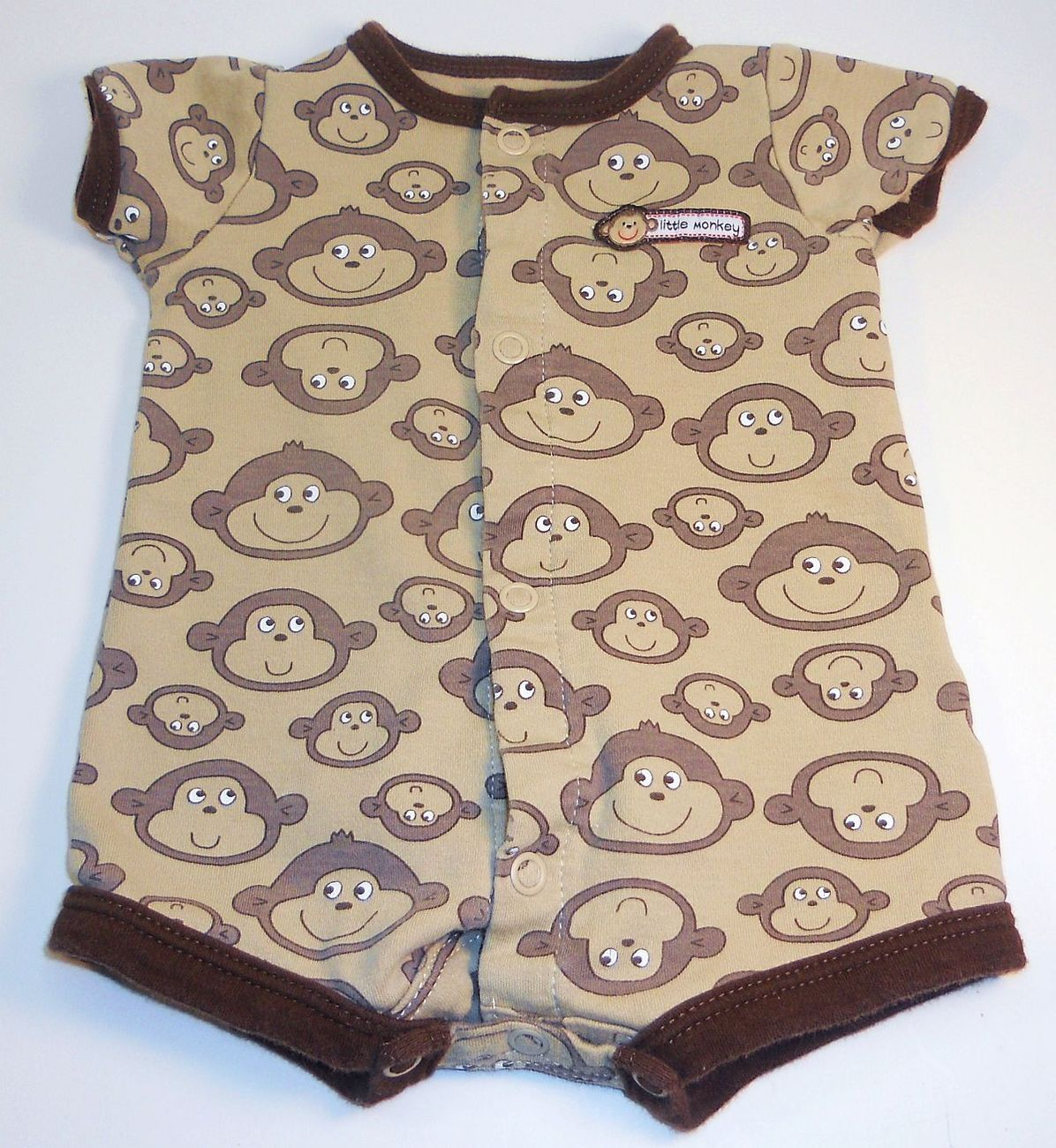 Image 1 of Carters Little Monkey onesie footie pants outfit New Born