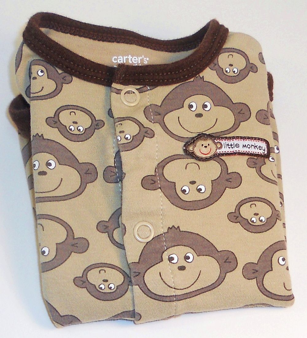 Image 3 of Carters Little Monkey onesie footie pants outfit New Born