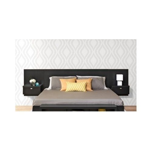 Floating king headboard integrated nightstands storage - Floating chair for bedroom ...