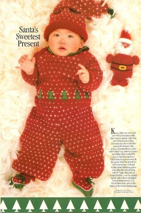 Christmas Elf Jumper Knitting Pattern : X651 Knit PATTERN ONLY Christmas Baby Sweater Pants Booties Cap Winter Elf He...