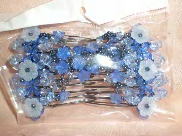 NEW Blue Hair Stretchy Bead Double EZ Magic Comb Clip