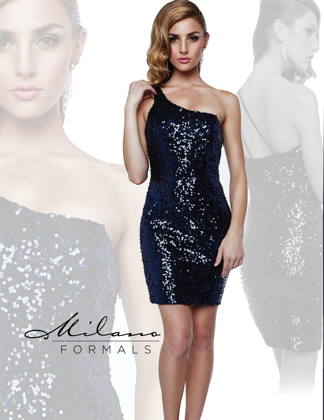 Image 1 of Milano Formals E1606 Sequin Navy Mini One Shoulder Fitted Party Dress 14