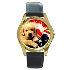 PATRIOTIC 4TH OF JULY PUP AMERICAN FLAG GOLD-TONE WATCH Bonanza