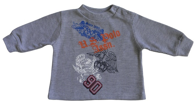U.S. Polo Assn. 3/6 Mos. Baby Boys Gray Thermal Top ECKO