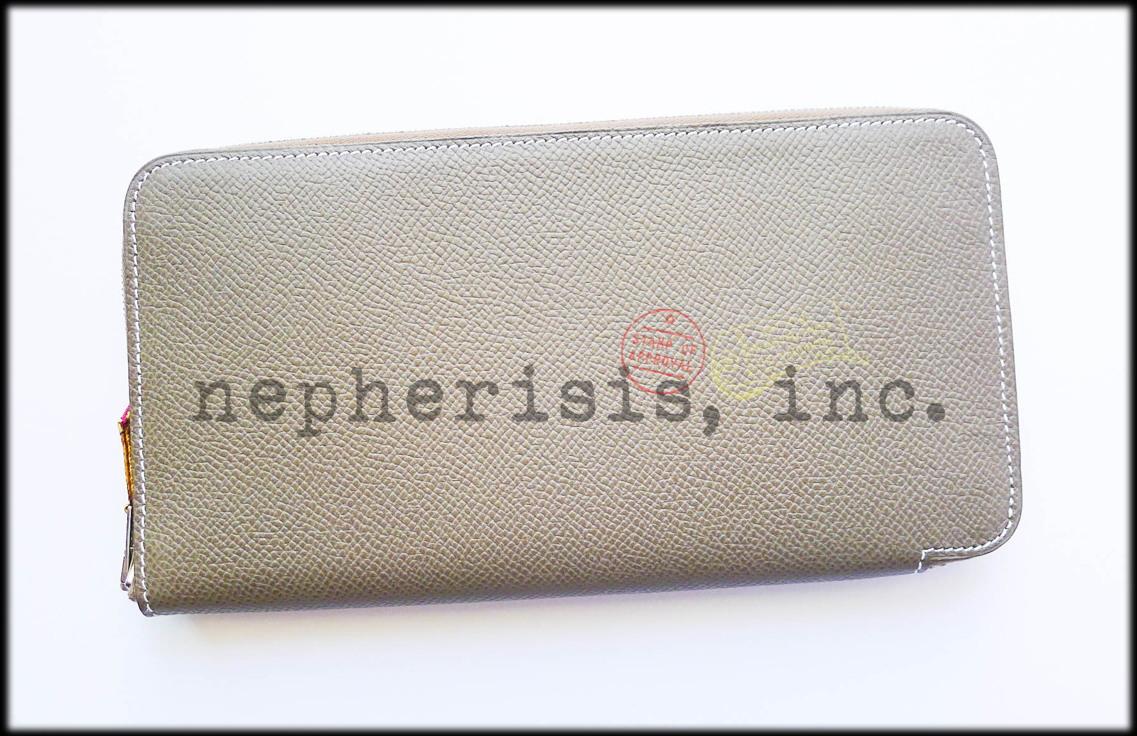 AUTH NIB Hermes SILK'IN Long Zip Epsom Wallet ETOUPE & ROSE SHOCKING Silk LINING