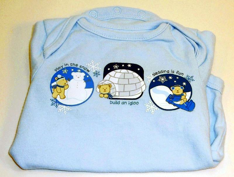 Image 1 of Small Wonders Long sleeve blue teddy beat onesie 0 to 3 months