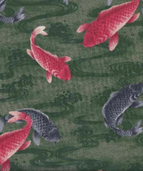 Koi fish fabric on a green background fabric for Green koi fish